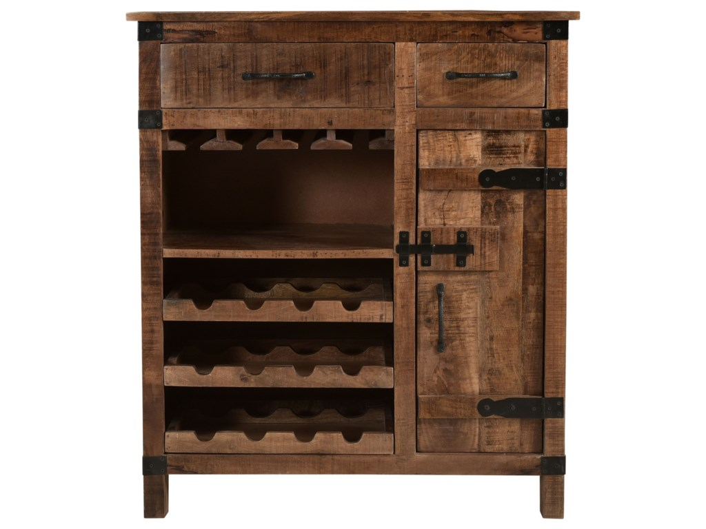 Coast to Coast Imports Coast to Coast AccentsOne Door Two Drawer Wine Cabinet