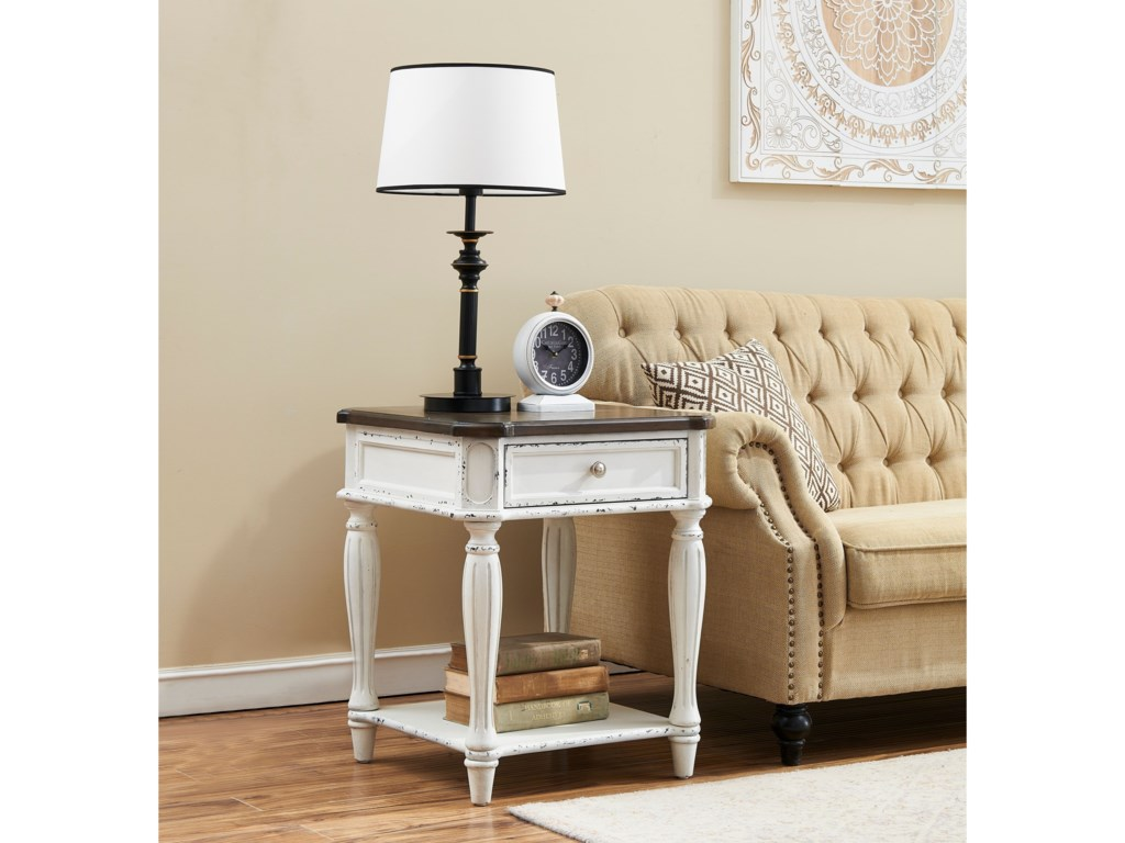 Coast to Coast Imports Cottage RowOne Drawer End Table