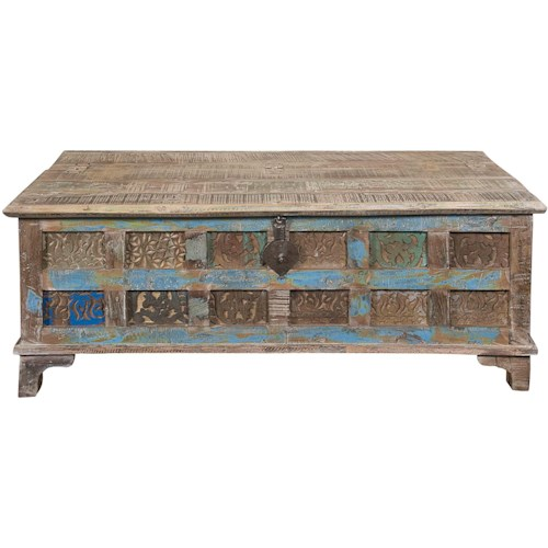 Coast to Coast Imports Jadu Accents Accent Trunk Cocktail Table with Printblock Pattern & Multicolor Finish