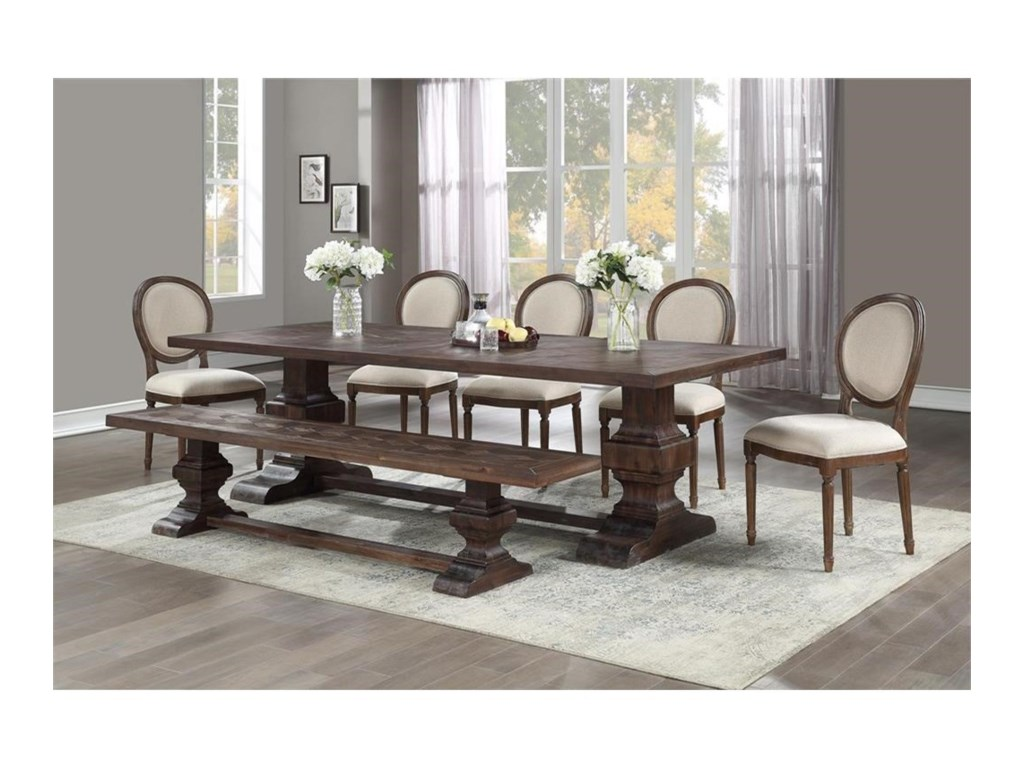 Coast to Coast Imports Marquette7-Piece Table and Chair Set with Bench