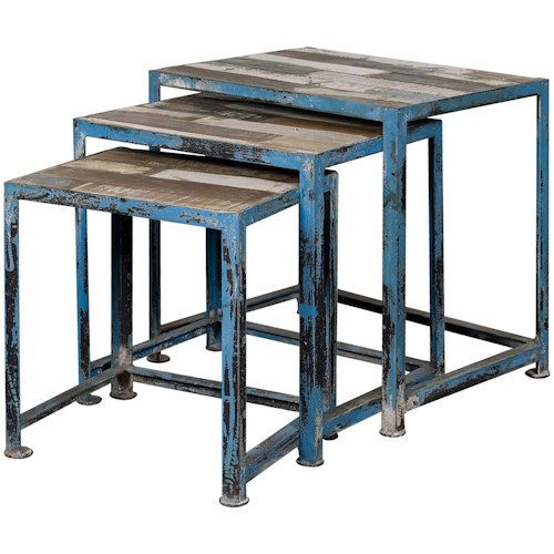 Coast to Coast Imports Occasional Accents Three Reclaimed Wood & Iron Nesting Tables with Distressed Multi-Color Finish