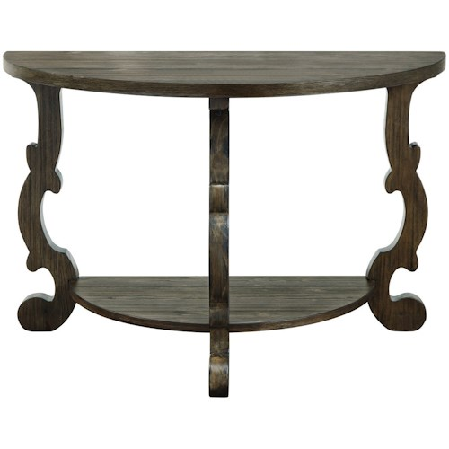 Coast to Coast Imports Orchard Park Traditional Demilune Console Table with Shelf