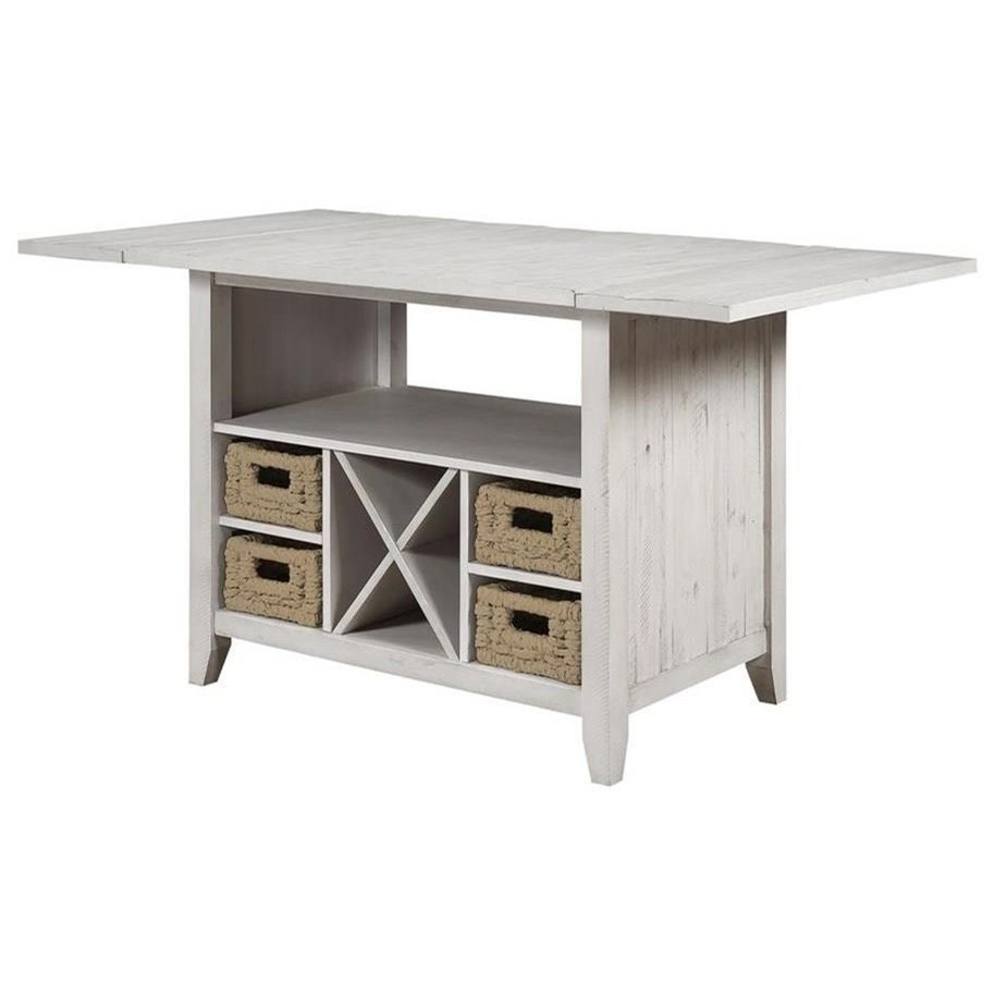 Transitional Drop Leaf Counter Height Dining Table with Storage