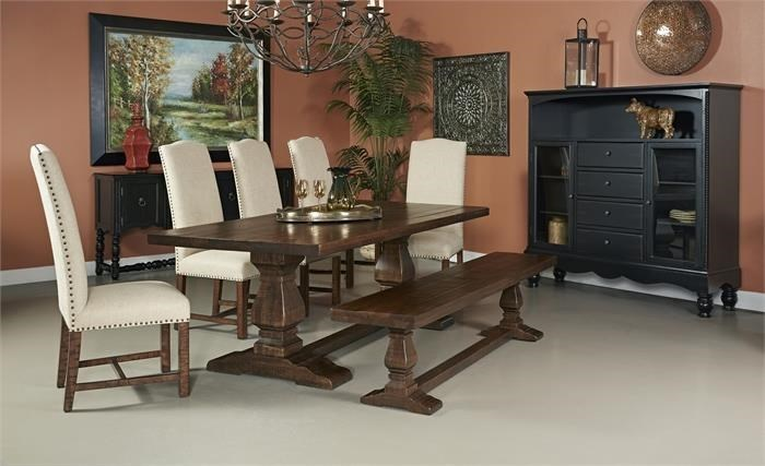 Coast To Coast Imports Woodbridge Double Pedestal Dining Table, 5 Side  Chairs And Bench   Great American Home Store   Table U0026 Chair Set With Bench