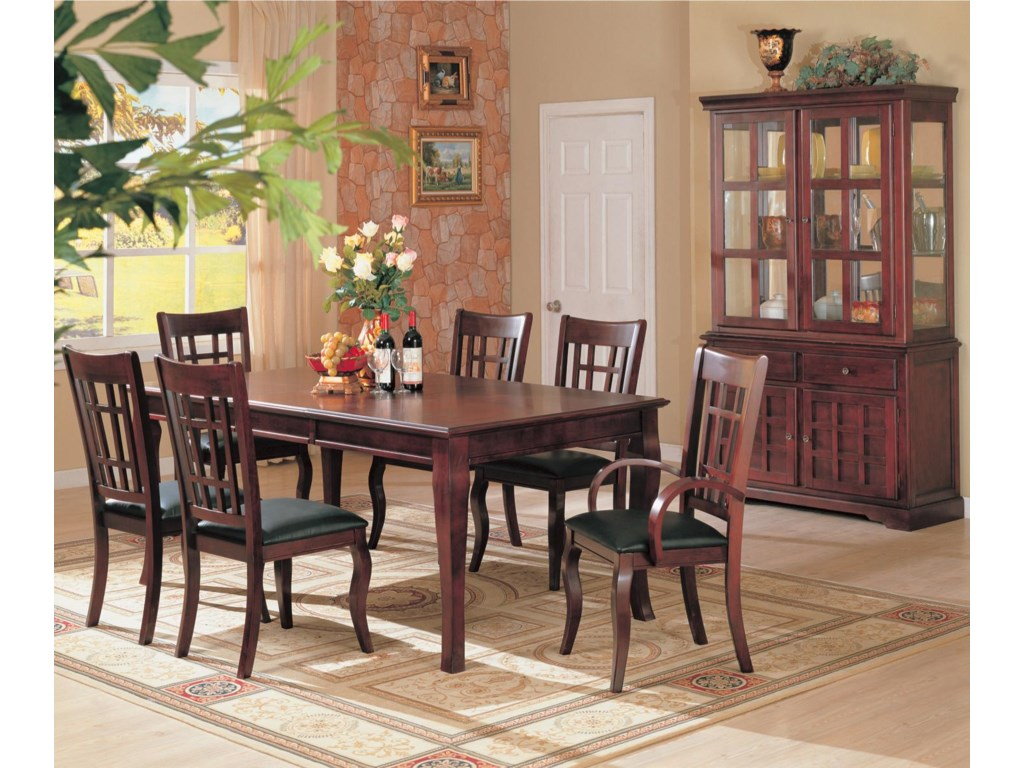 Shown in Room Setting with Side Chairs, Arm Chairs, Dining Table, and Hutch