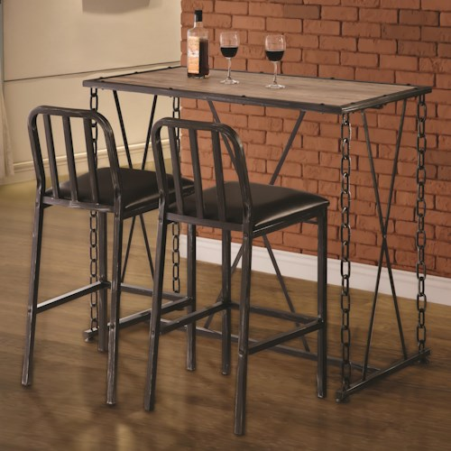 Coaster 10069 Three Piece Pub Dining Set with Upholstered Chairs