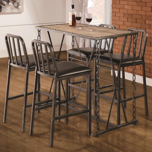 Coaster 10069 Five Piece Pub Table Dining Set with Upholstered Chairs