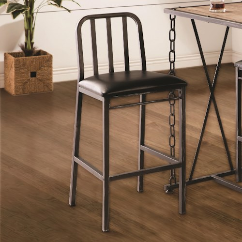 Coaster 10069 Rustic Industrial Bar Stool with Faux Leather Cushion