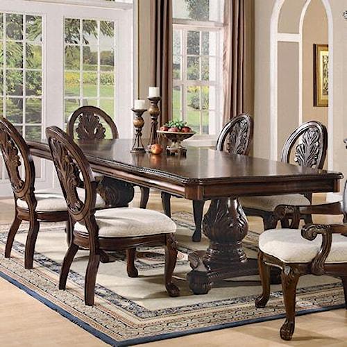 Coaster Tabitha Traditional Rectangular Double Pedestal Dining Table