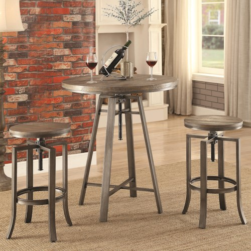 Coaster 10181 Three Piece Adjustable Height Pub Table and Stool Set