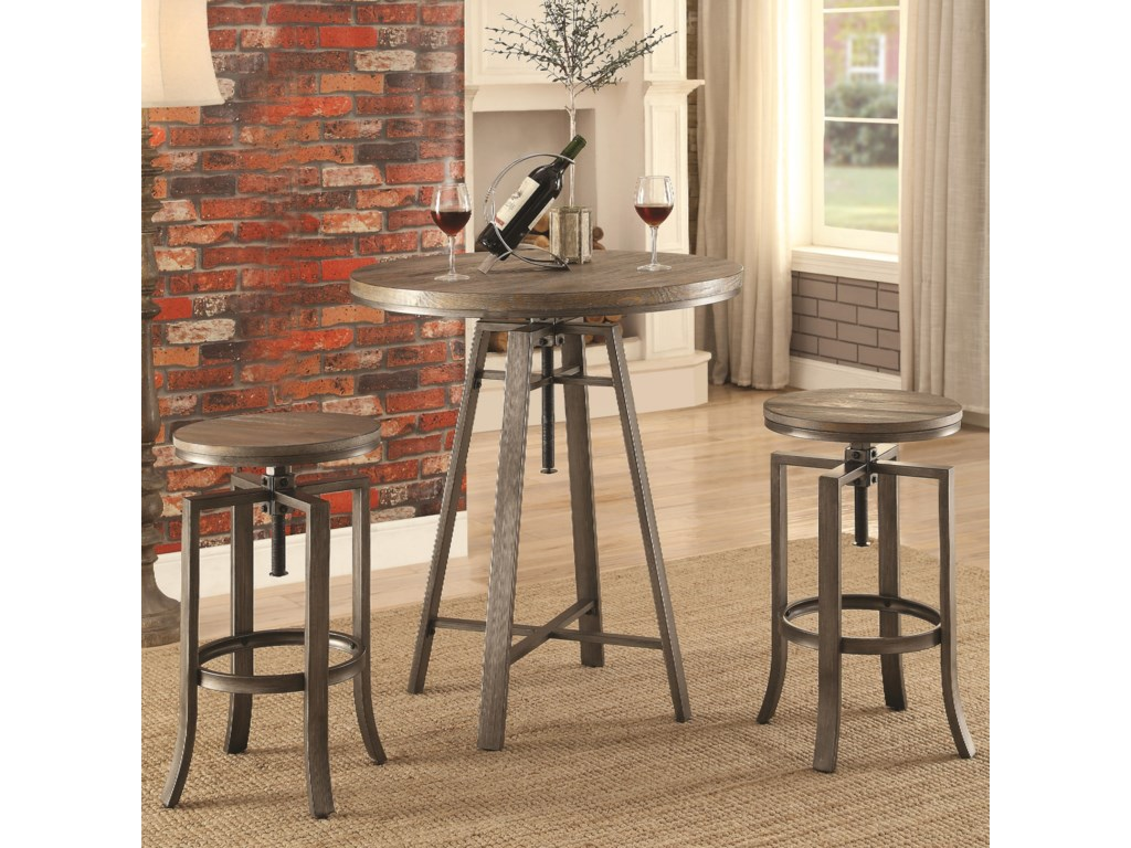 Coaster Furniture 101813 Pc Adjustable Pub Table Set