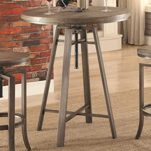 Coaster 10181 Industrial Bar Table with Swivel Adjustable Height Mechanism