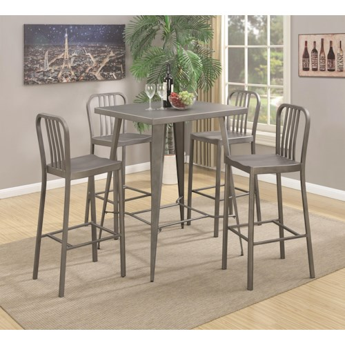 Coaster 10593 5 Piece Metal Bar Table Set