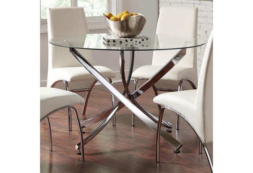 Beckham Contemporary Round Dining Table With Gl Top By Coaster At Dunk Bright Furniture