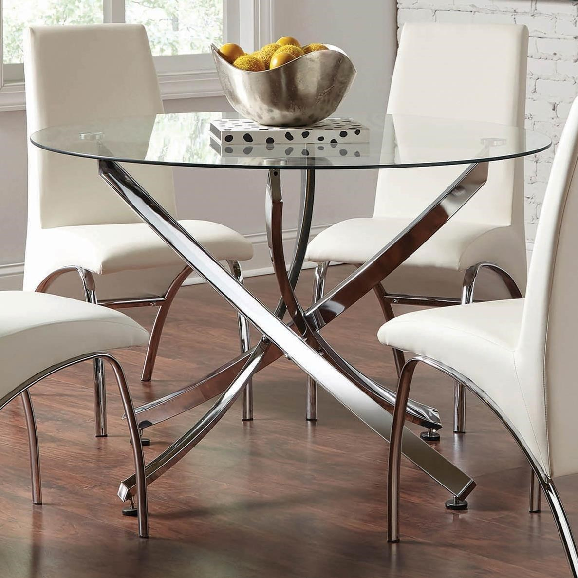 Beckham Contemporary Round Dining Table With Glass Top By Coaster