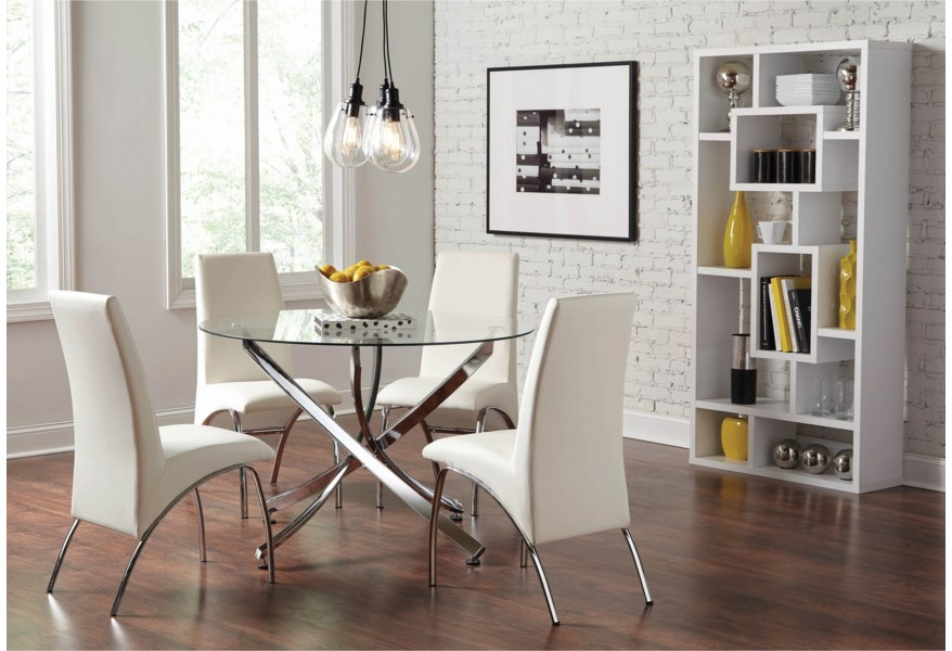 Beckham Contemporary Round Dining Table with Glass Top by Coaster at Dunk &  Bright Furniture
