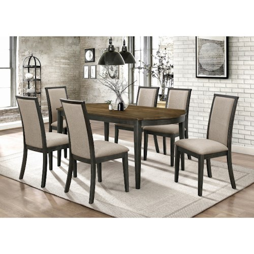 Coaster Clarksville Transitional 7 Piece Dining Set with Upholstered Seating
