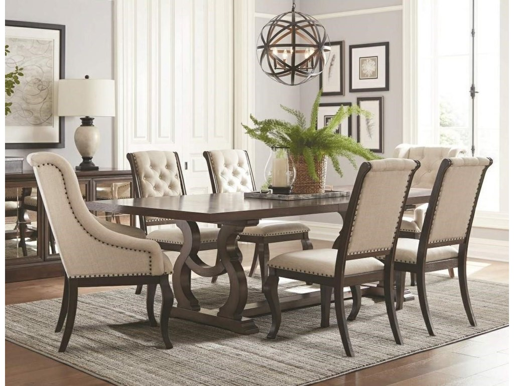 Coaster Glen CoveTrestle Dining Table & Upholstered Chair Set