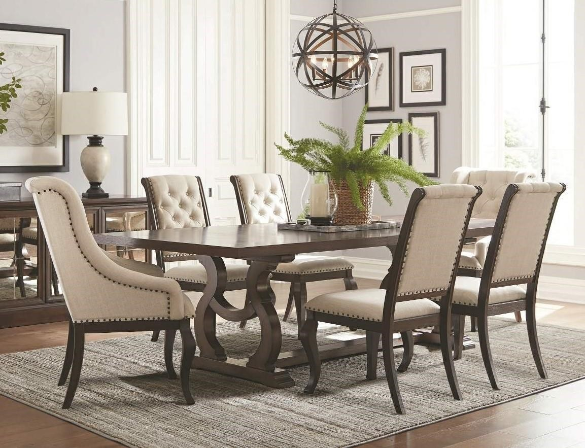Coaster Glen CoveTrestle Dining Table U0026 Upholstered Chair Set ...