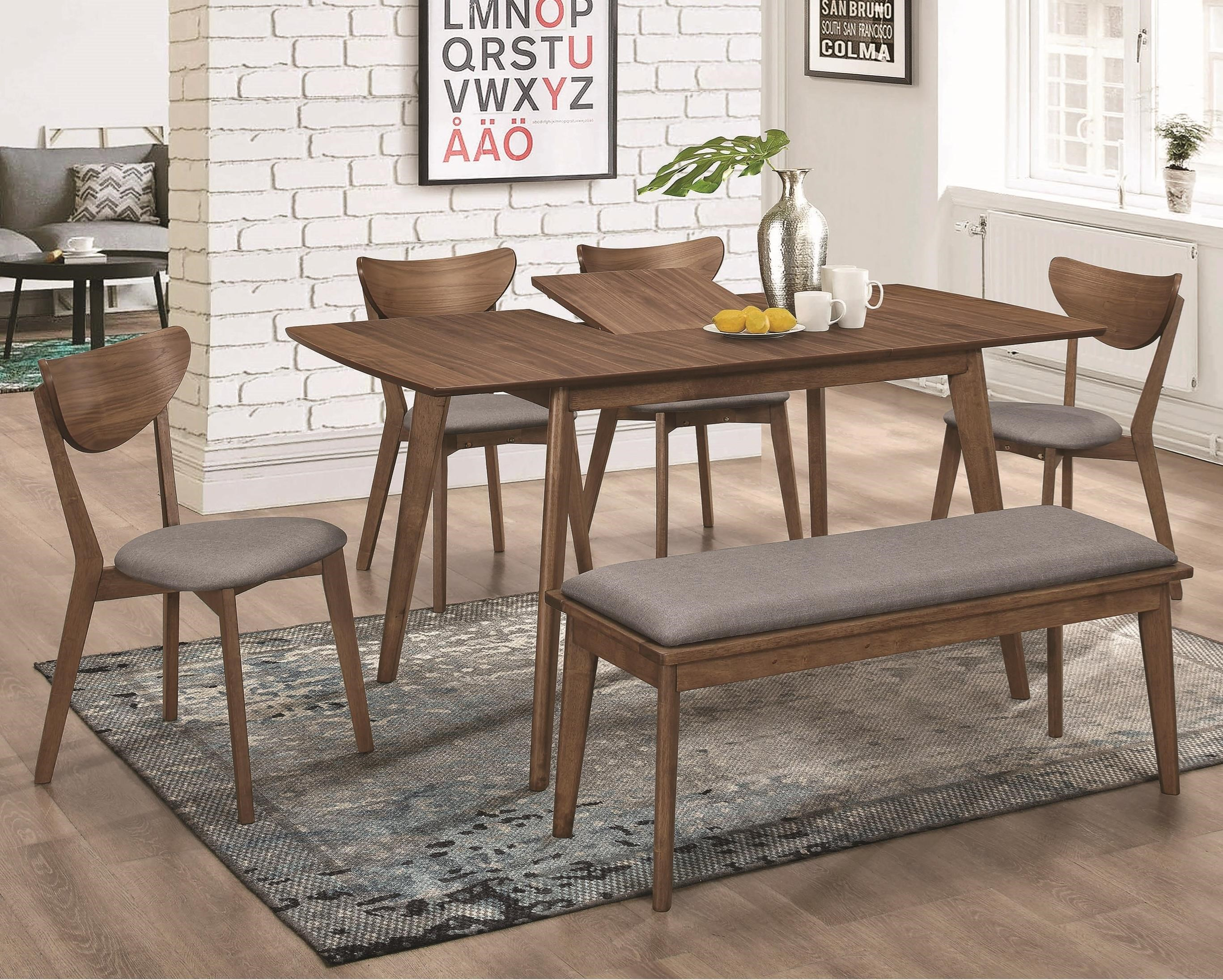 Mid-Century Modern Table and Chair Set with Bench