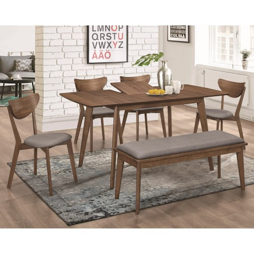 Coaster 1080 Mid-Century Modern Table and Chair Set with Bench