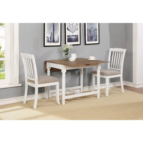 Coaster Hesperia Casual 3 Piece Dining Set with Drop Leaves and Storage Drawer