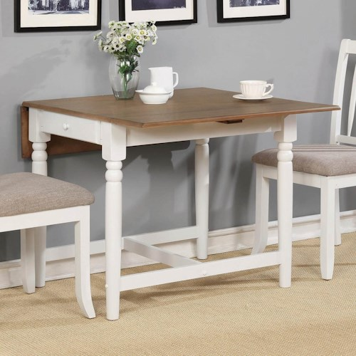 Coaster Hesperia Casual Dining Table with Drop Leaves and Storage Drawer