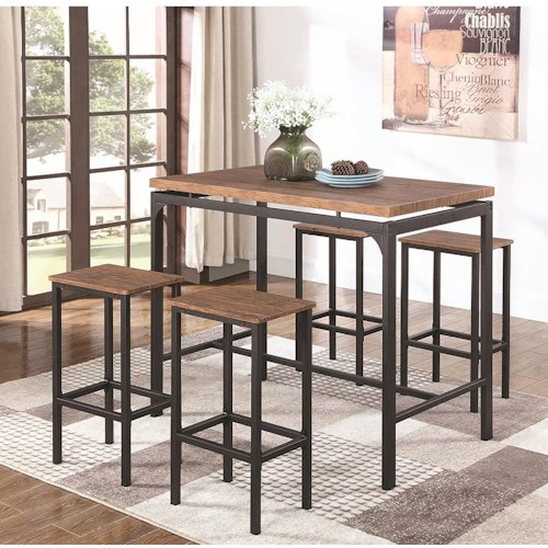 Coaster 182002 Industrial Table and Chair Set for Four