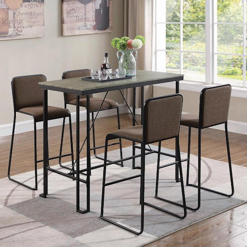 Coaster 18213 Five Piece Industrial Pub Dining Set