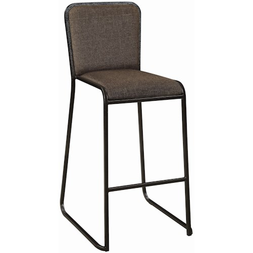 Coaster 18213 Set of 4 Upholstered Bar Stools with Industrial Steel Bases