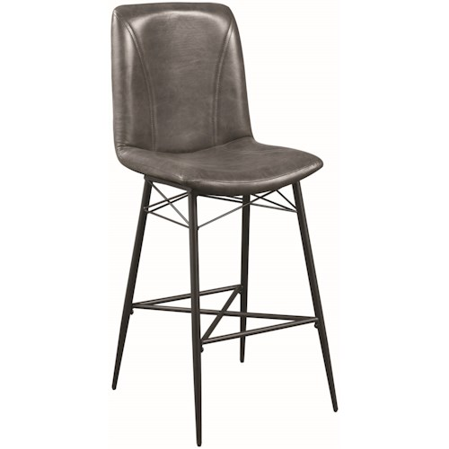 Coaster 1826 Industrial Bar Stool in Grey Leatherette