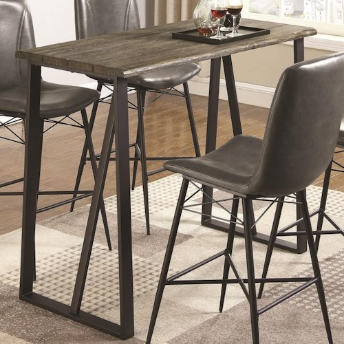 Coaster 1826 Industrial Wood and Metal Bar Height Table