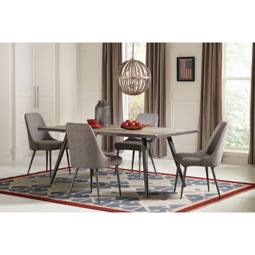 Coaster Levitt Industrial 5 Piece Dining Set with Upholstered Chairs