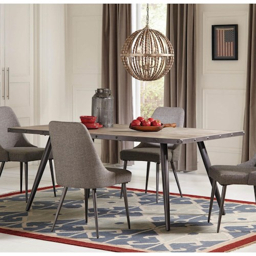 Coaster Levitt Industrial Dining Table with Metal Edge Banding