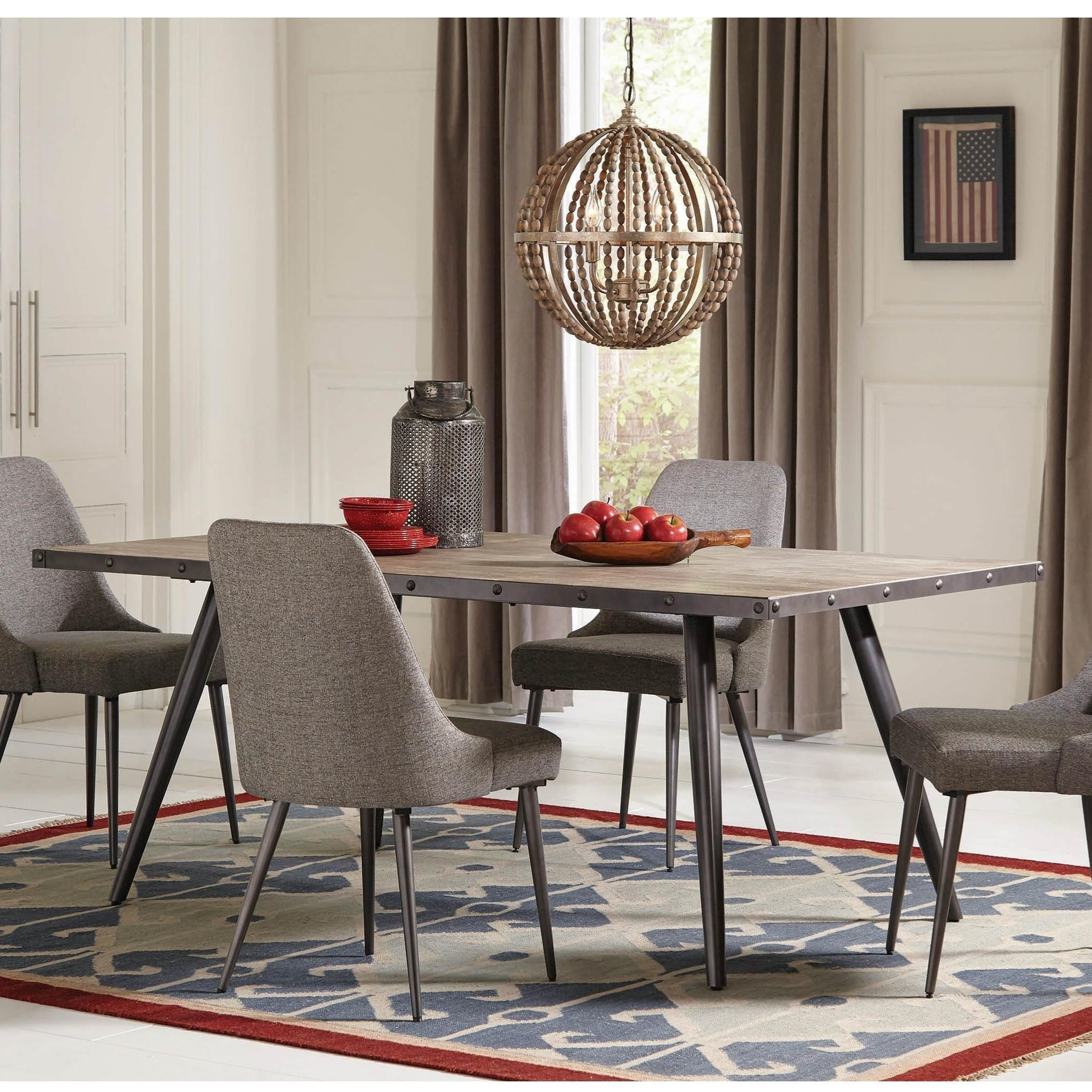 Superbe Levitt Industrial Dining Table With Metal Edge Banding By Coaster