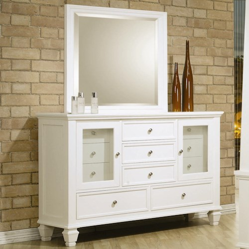 Coaster Sandy Beach Classic 11 Drawer Dresser and Vertical Dresser Mirror