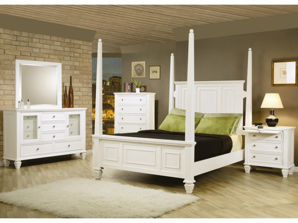 Shown in Room Setting with 5 Drawer Chest, Queen Bed, and 3 Drawer Nightstand