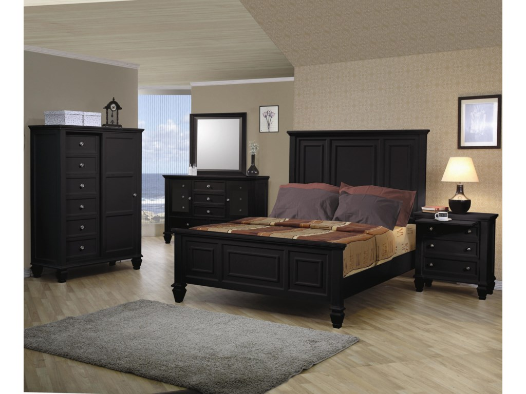 Shown in Room Setting with 8 Drawer Chest, 11 Drawer Dresser, Queen Bed, and 3 Drawer Nightstand