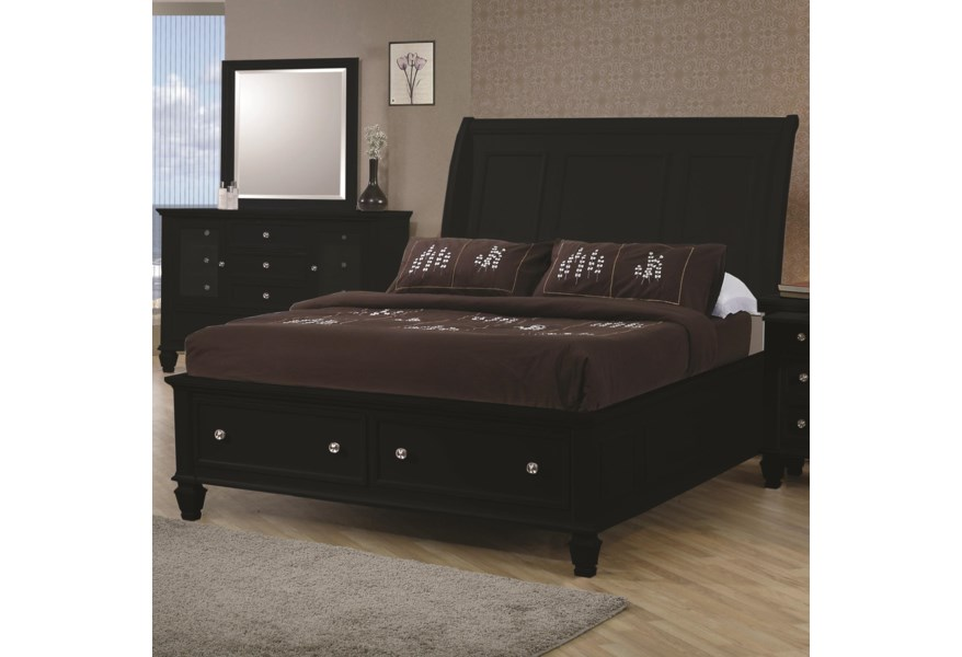 Coaster Sandy Beach King Sleigh Bed With Footboard Storage A1 Furniture Mattress Sleigh Beds