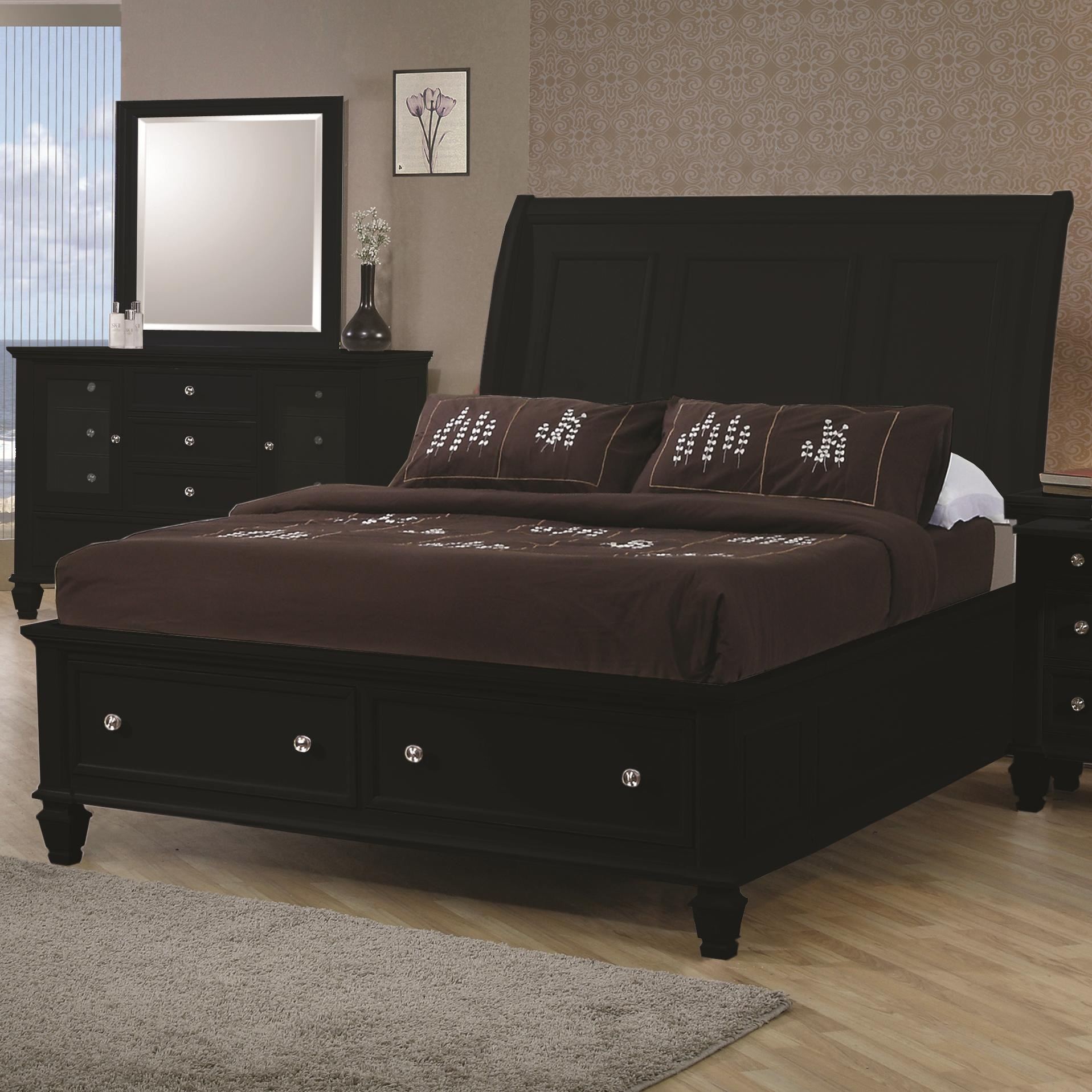 Coaster Sandy BeachQueen Sleigh Bed  sc 1 st  Dunk u0026 Bright Furniture & Coaster Sandy Beach 201329Q Queen Sleigh Bed with Footboard Storage ...