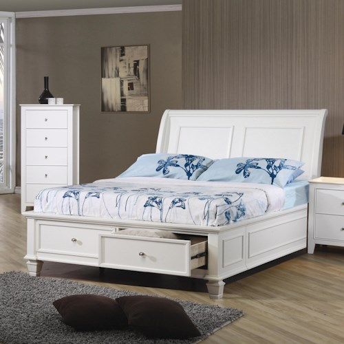 Coaster Sandy Beach Twin Sleigh Bed with Footboard Storage