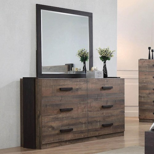 Coaster Weston Contemporary Dresser and Mirror Combination with Felt-Lined Top Drawers