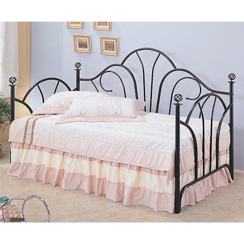 Coaster Vine Twin Metal High Back Daybed with Filligree Knobs