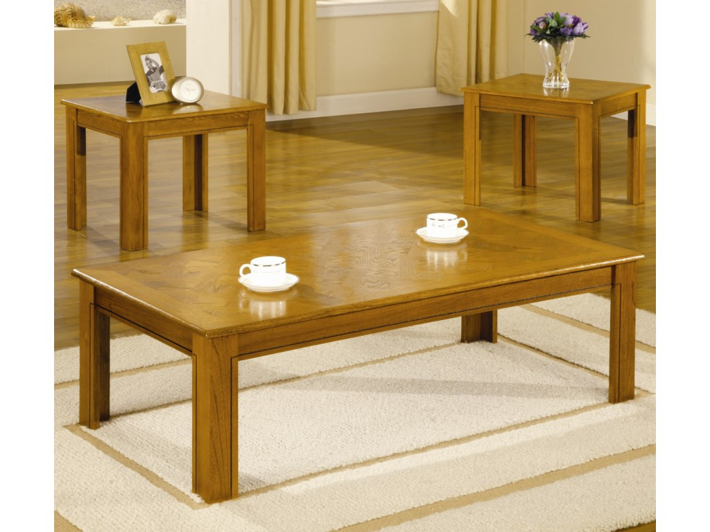 Coaster Occasional Table Sets 3 Piece Parquet Top Occasional Table ...