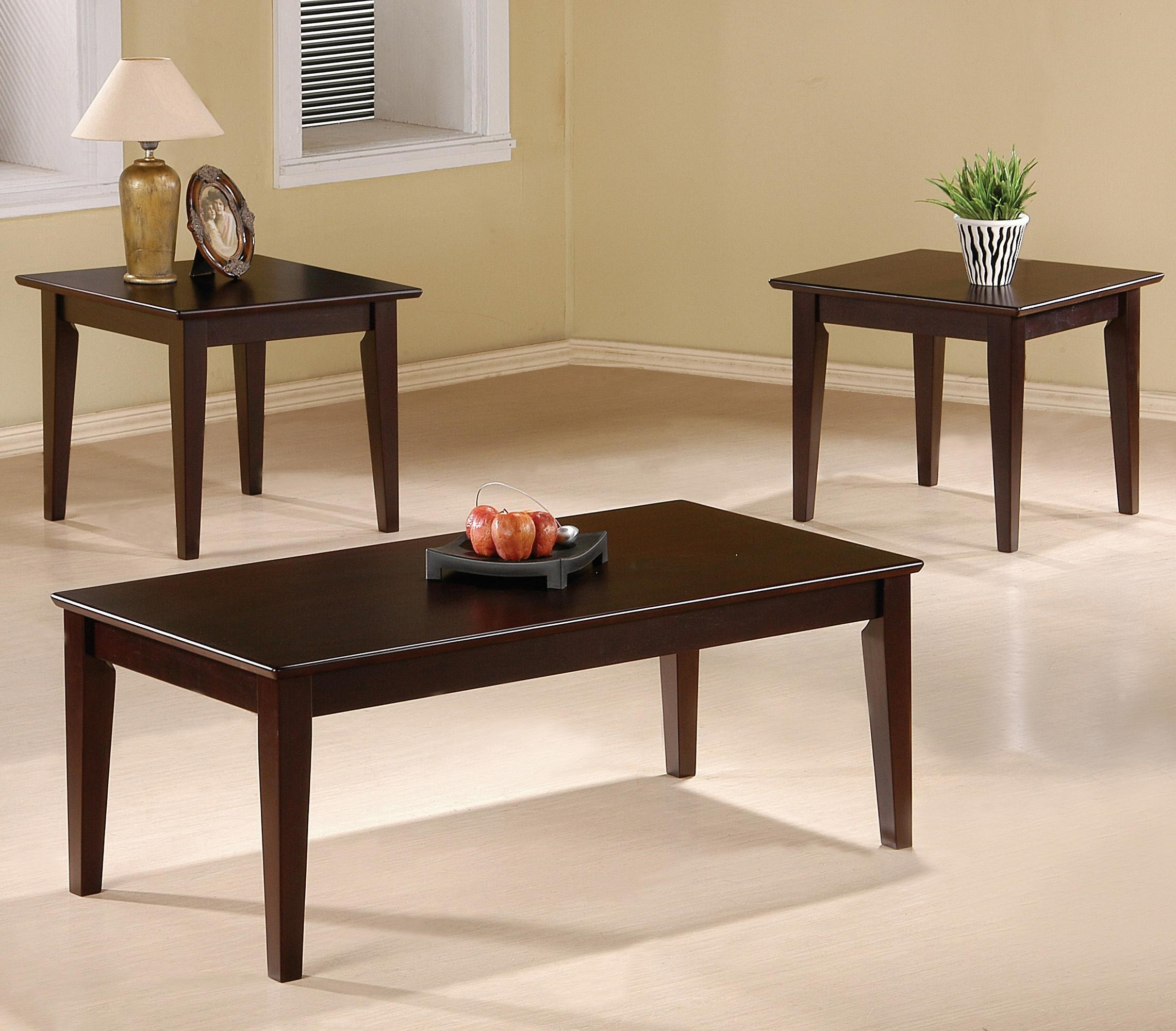 Coaster Occasional Table Sets 3 Piece Occasional Table Set with Tapered Legs : 3 piece occasional table set - pezcame.com