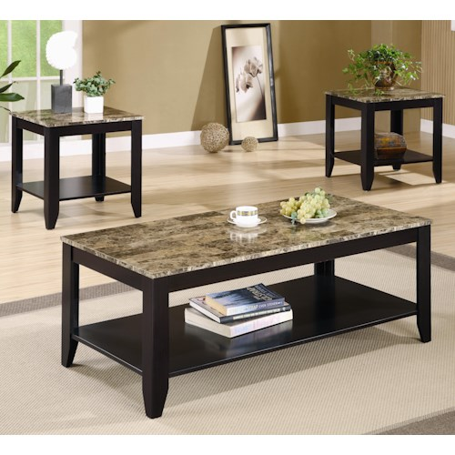 Coaster Occasional Table Sets 3 Piece Occasional Table Set with Shelf and Marble Look Top