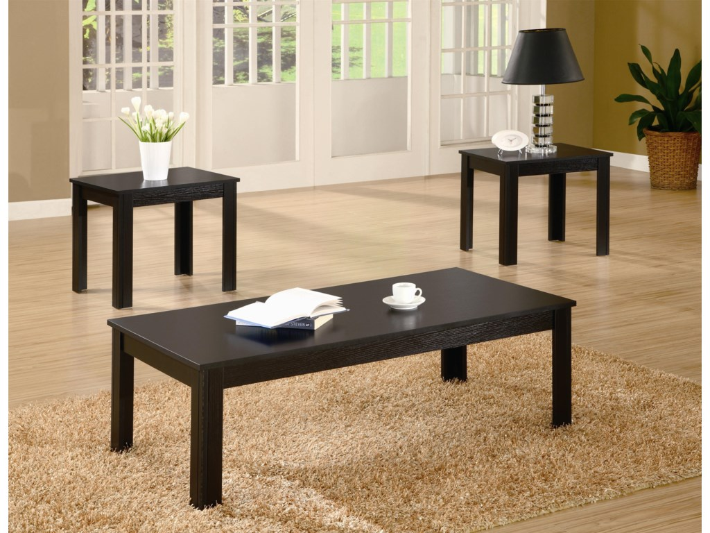 3 Piece Table Set Shown in Black Finish