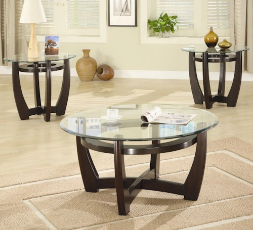 Coaster Occasional Table Sets Contemporary 3 Piece Occasional Table Set with Glass Tops