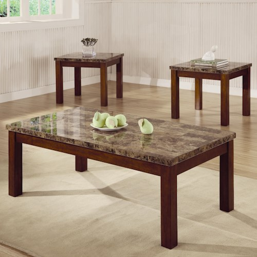 Coaster Occasional Table Sets 3 Piece Occasional Table Set with Marble Look Top