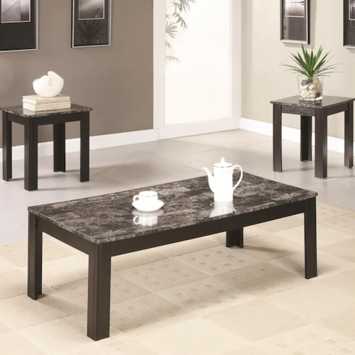 Coaster Occasional Table Sets Coffee and End Table Set w/ Marble-Looking Top